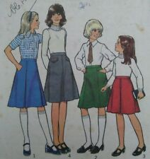 Vintage 1970s Style Girls' School Skirts Sewing Pattern #2190 Waist 65cms 25.5""