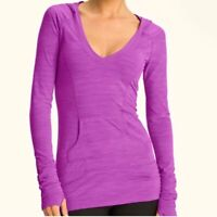 Zella Women's Activewear Long Sleeve Hodded Top Purple Ruched Size XS