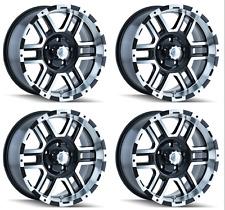 "Set 4 17"" Ion 179 Black Machined Wheels 17x8 6x5.5 10mm GMC Sierra Chevy 6 Lug"