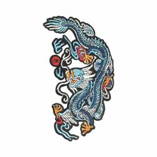Blue Dragon R (Iron On) Embroidery Applique Patch Sew Iron Badge