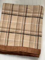 Vintage Bed Blanket Brown Tan Plaid Nylon Acrylic? Blend Satin Trim F/Q SOFT!
