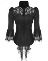 Punk Rave Womens Blouse Top Black Lace Gothic Steampunk VTG Victorian Regency