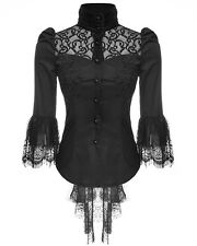 Punk Rave Womens Blouse Top Black Lace Gothic Steampunk VTG Victorian Regency