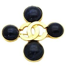 logo navy blue stone cross #pi519 Authentic vintage Chanel pin brooch gold Cc