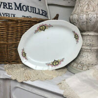 VTG Blue Finch Bird Oval Serving Platter Tray Dining Room Floral Flower Ceramic