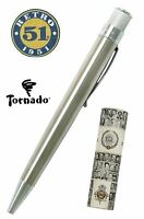 Retro 51 #VRR-1315 / Stainless Twist Action Tornado Rollerball Pen