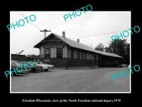 OLD LARGE HISTORIC PHOTO OF FREEDOM WISCONSIN, N/F RAILROAD DEPOT STATION c1970
