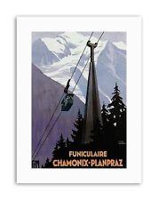 Funicular Chamonix Francia Alpes Nieve cayeron cartel viaje Sport Lona Arte