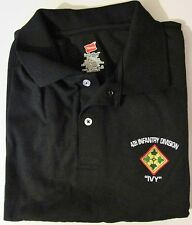 """4TH INFANTRY DIVISION """" IVY """" EMBROIDERED LIGHTWEIGHT POLO / GOLF SHIRT"""