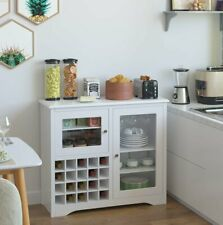 Wine Rack Buffet Server Cabinet Console Table Cupboards Glass Doors White