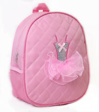 Girls Dance Backpack Quilted Sequin Ballerina Tutu Backpack Medium Pink