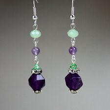 Purple green amethyst crystal silver long drop earrings wedding bridesmaid gift