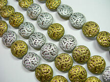 10 Lovely Czech Glass Button Beads 14mm Silver and Gold Matte Metallic