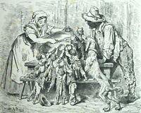 Le Petit poucet Le repas - Conte de Perrault Gravure de Gustave Doré.