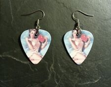 Pin Up Girl Sexy Retro Guitar Pick Earrings Set Pendant Charm Gift Present