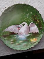 Antique B+H Limoges Swan Display Plate, 9 in, scalloped, Blakeman + Henderson