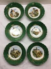 """ANTIQUE THREE CROWN CHINA - 6 FRUIT/BERRY BOWLS - GERMANY - 3 SCENES - 5.5"""""""