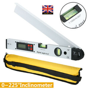 0~225°LCD Digital Protractor Inclinometer Angle Meter Spirit Level Finder NEW -