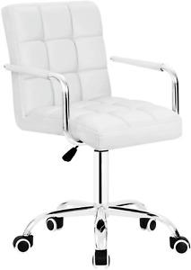 Walnew Leather Adjustable Height Office Desk Chair Swivel Armrest White or Black