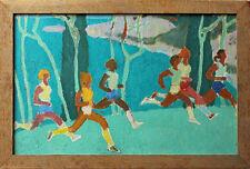 Attribué à Oscar KATCHAROV (1924) huile s/panneau bois dim. 25 x 39 cm jogging 1