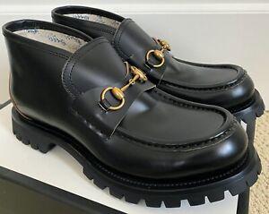 NIB Gucci Cordovan Black Leather Gold Horsebit Bee Logo Loafers UK 9 US 10 $890