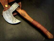 18 Oz Handmade Damascus Steel Bearded Axe-Tomahawk-Hatchet-Functional-DA5