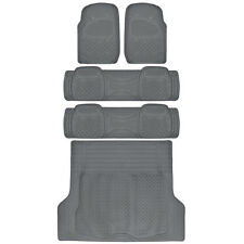 3 Row Car Floor Mat for SUV Snow Mud Trap Protection Trimmable Gray w/ Trunk Mat
