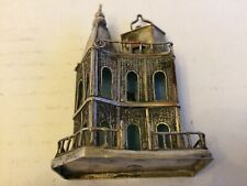 More details for antique silver plated filigree work miniature church statue