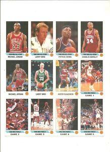 1990-91 Panini sticker sheet of 12 with 2 Jordans, 2 Birds, Barkley