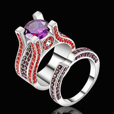 Size 8 Platinum Plated Wedding Ring Set Princess Amethyst Engagement Bridal Halo