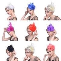 Women's Flower Fascinators Derby Mini Hats Feather Headband Cocktail Hair Clips
