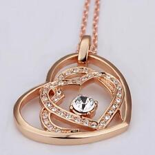 Elegant 18k Rose Gold Plated GP Muti Heart Pendant Crystals Necklace Woman N450