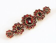 Brooch Trumpet Clasp Faceted Stones ! Antique Fine Sterling Silver Red Garnet