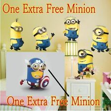 6 Minions DESPICABLE ME Captain Nursery Baby Kids wall sticker Decal Decor Art