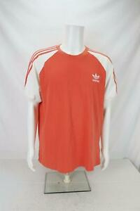 Adidas 3 Stripes Short Sleeve Shirt Color Block Orange/White Men's XL