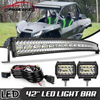 "Curved 42"" 900W LED Light Bar Combo+4"" Pods w/Wiring Fit Kawasaki KRX 1000 Roof"