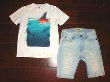 Abercrombie Kids Boys 7/8 2pc Shark/Goldfish Shirt & Frayed Shorts Outfit EUC