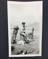 VTG Old Navy Officer Sailors Captain Watching Crew On  War Ship WW2 Photo Hat 56
