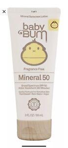 Sun Bum Baby Bum SPF 50 Mineral Sunscreen Lotion Fragrance Free 3 oz. New