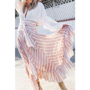 Free People FP One Giselle Stripe Printed Smocked Maxi Skirt Boho S New 215324