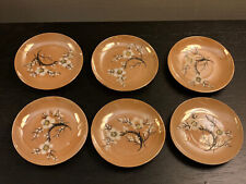 6 Antique Japan Japanese Lusterware Mini Plates Mamezara ~ Cherry Blossom