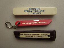 Vintage sliding knife advertising Morton's Feed & Fertilizer and 2 other knives