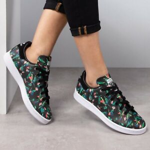 Adidas ORIGINALS STAN SMITH FLORAL LEATHER SHOES TRAINERS Women's Sneakers