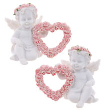 White Cherub Angel Figurine Pink Glitter Rose Heart Ornament Gift Idea