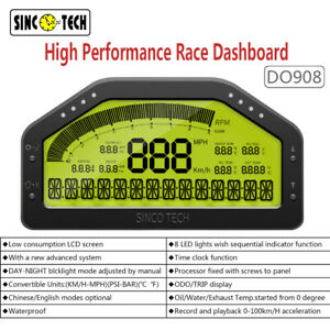Sinco Tech DO908 Car Dashboard Racing Gauge Display Sensor KIT LCD Screen