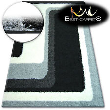 BEAUTIFUL AND VERY SOFT SHAGGY RUGS 'ZENA' Lines grey black FLUFFY CHEAP CARPETS