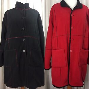 Susan Graver Reversible Fleece Coat 1X Black & Red 2 Pockets Each Side Warm euc