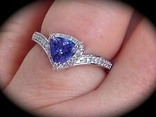 TANZANITE & GENUINE DIAMOND PREMIUM QUALITY SILVER RING 'CERTIFIED AA GRADE'