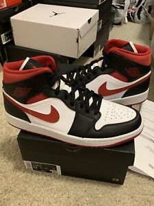 Nike Air Jordan 1 Mid White Gym Red Black Men Size 13 / 14.5W 554724-122 NEW DS