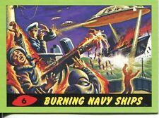Mars Attacks Heritage Green Parallel Base Card #6    Burning Navy Ships